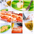 Royalty-Free Stock Photo: Wine, Shrimp, Bread and Butter Collage