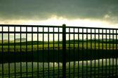 Sunrise Behind the Fence — Stock Photo