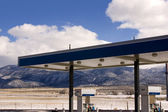 Gas Station and Cloudy Skies — Stock Photo