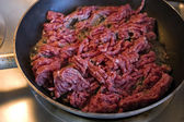 Close up on Ground Beef on a Pan — Stock Photo