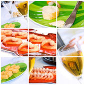 Wine, Shrimp, Bread and Butter Collage — Stock Photo