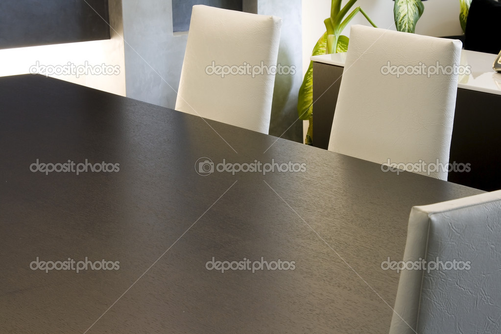 Close up on a Trendy Modern Dining Room and Dinner Table — Stock Photo #2601863