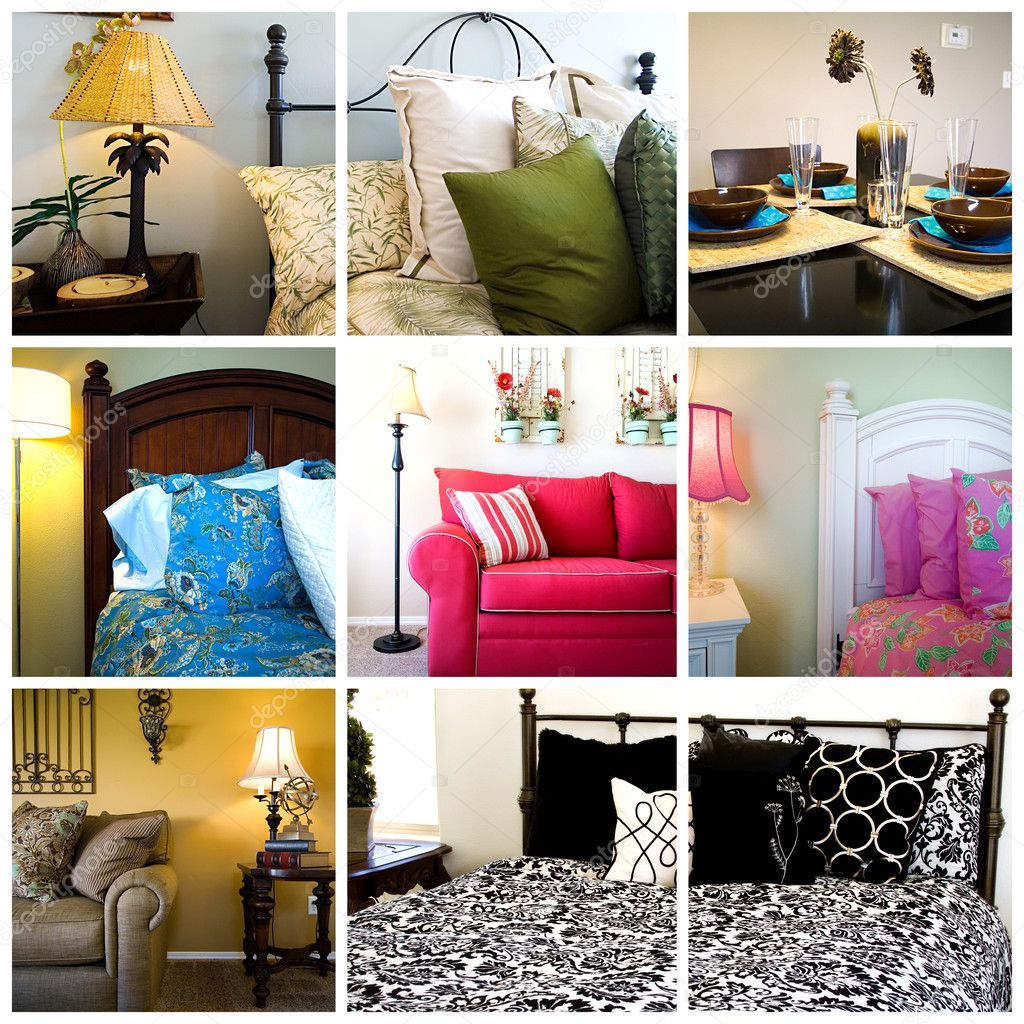 Collage of Home Interior - Bedrooms, Living and Dining Rooms — Zdjęcie stockowe #2602882