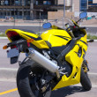 Stock Photo: Yellow Motorcycle parked