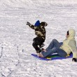 Mother and Son Sledding down the Hill — Stock Photo