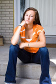 Teenage Girl Sitting Outside — Stock Photo