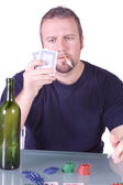 Man with an Empty Whiskey Bottle — Stock Photo
