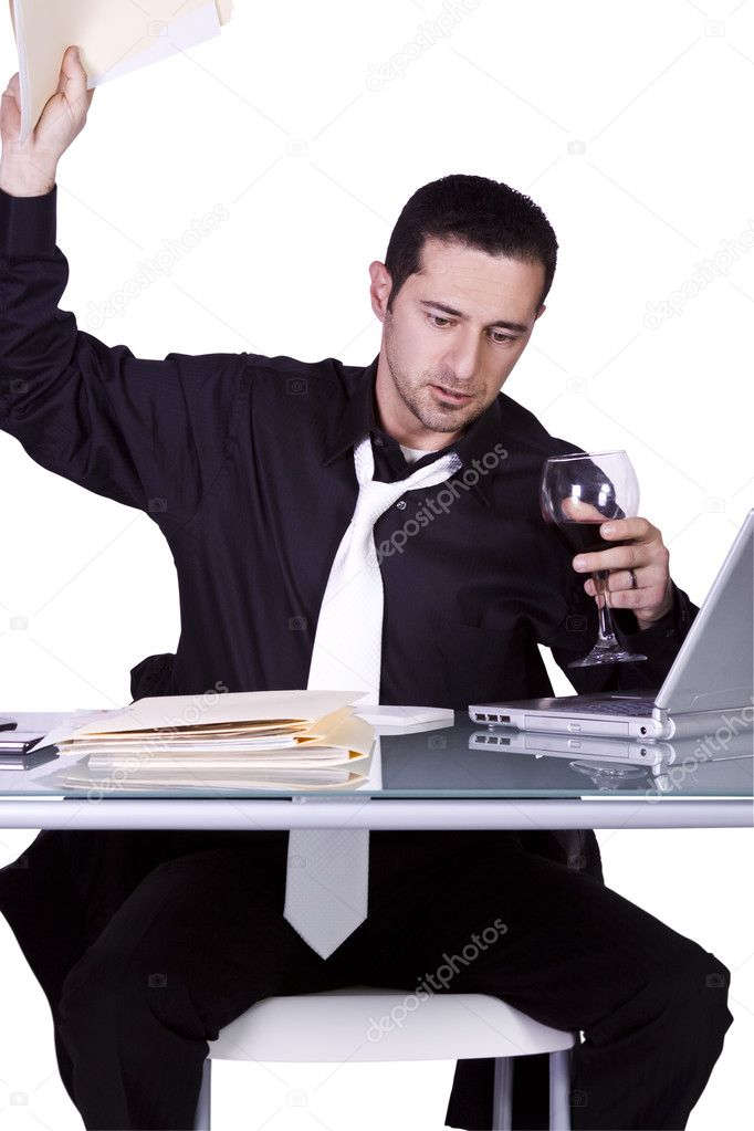 Frustrated Businessman Throwing His Folder to the Table - Isolated Background  Stock Photo #2692921