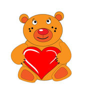 The Bear cub keeps in hand heart. — 图库矢量图片