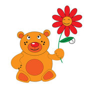 The Bear with red flower. — Stock Vector