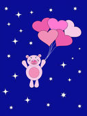 The Teddy bear flies on air ball. — Stock Vector