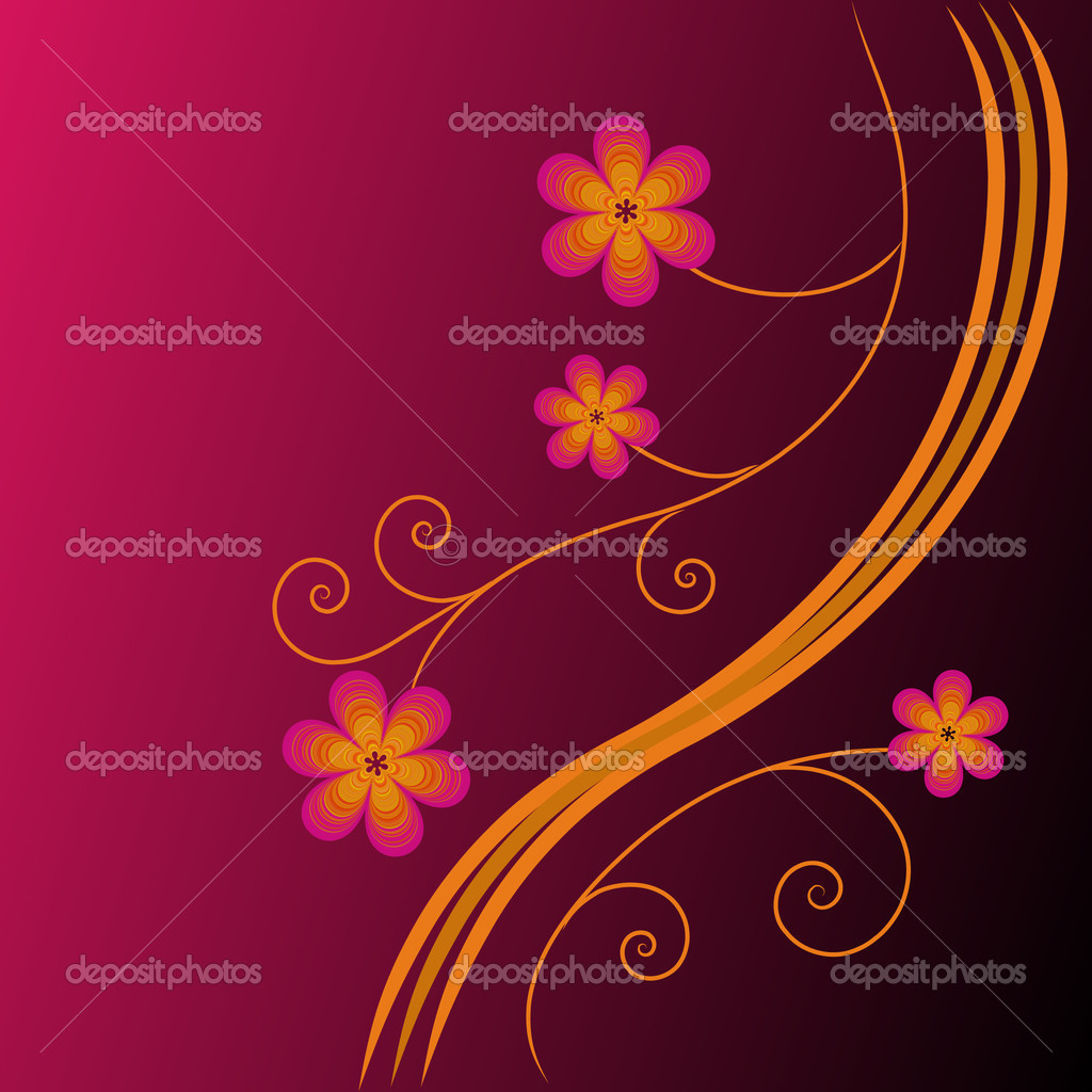 The Bright floral background. The Complimentary postcard.  Stock Vector #2599654