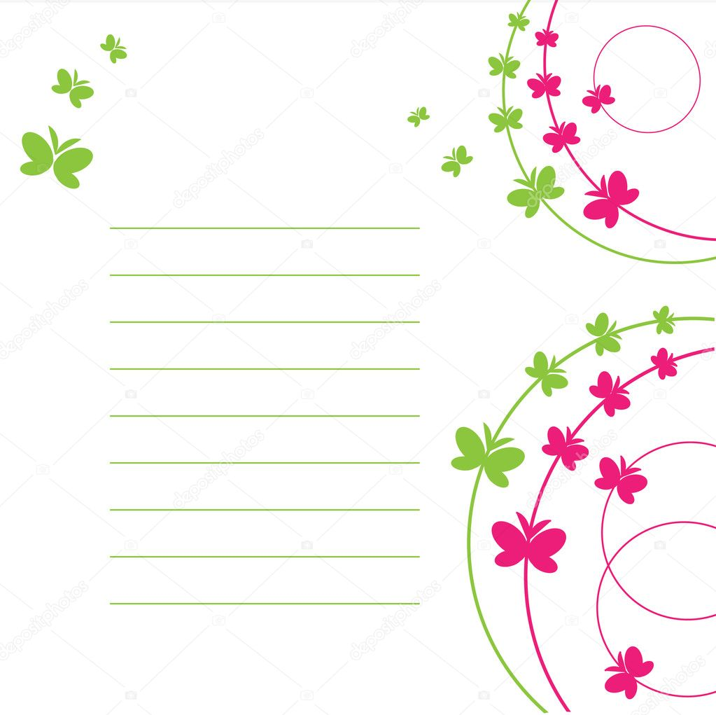 The Sheet of paper and butterfly. The Place for your text.  Stock Vector #2599858