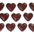 Stock Photo: Heart-shaped dark chocolate candies