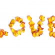 Word Love Made from Rose Petals — Stock Photo
