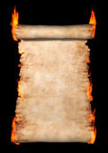 Burning Roll Of Parchment — Stock Photo