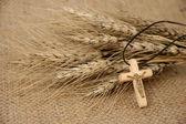 Christian Cross And Wheat — Stock Photo