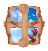 Conceptual Window Made from Hands — Stock Photo