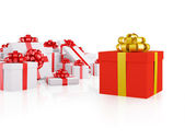 Different red gift box — Stock Photo