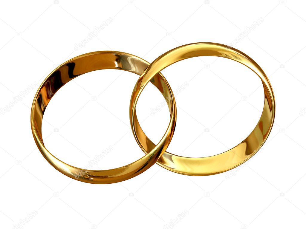 Connected golden wedding rings isolated on white background  Stock Photo #2600283