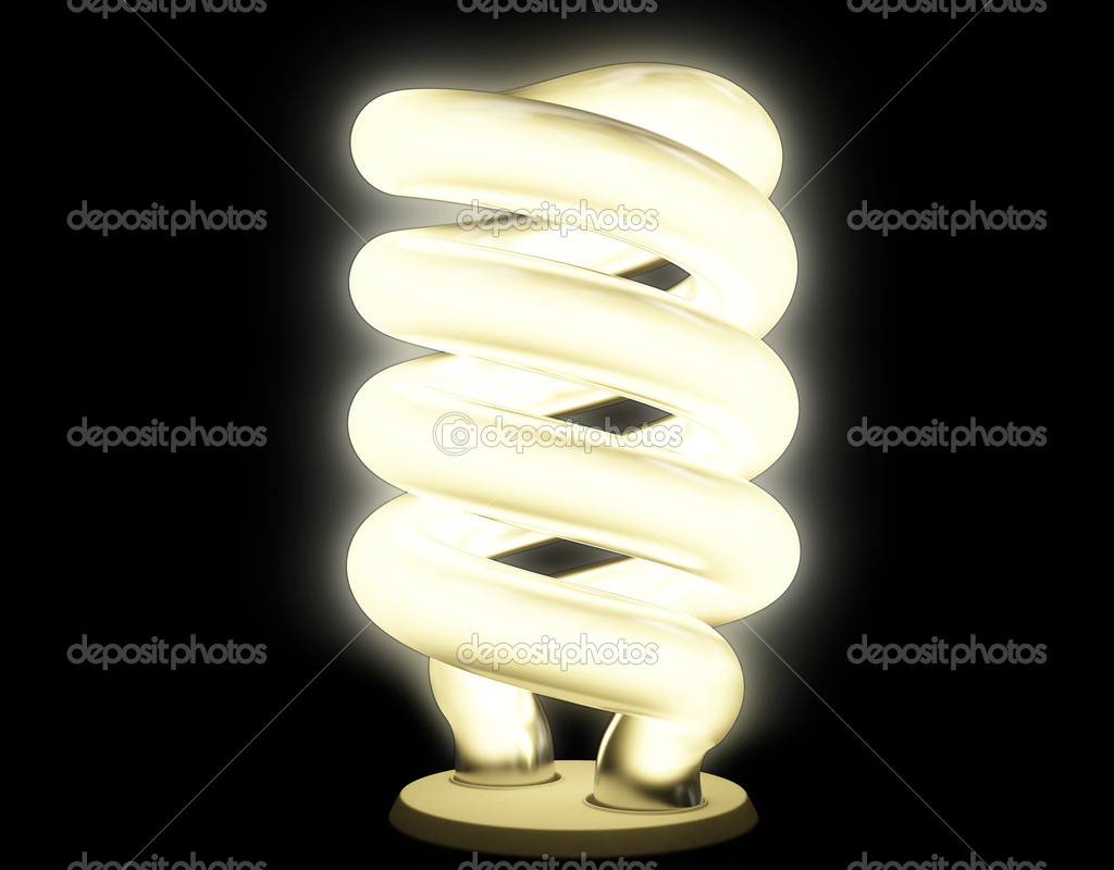 Warm fluorescent lamp with soft luminescence isolated on black — Stock Photo #2601294