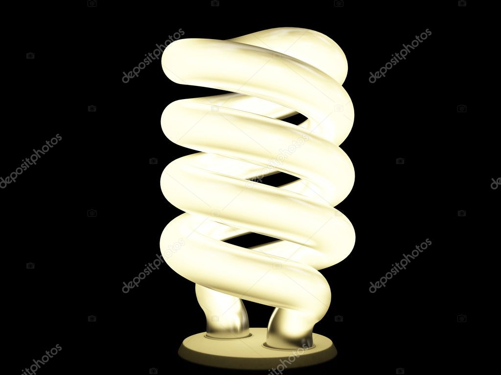 Warm fluorescent lamp isolated on black — Stock Photo #2601320