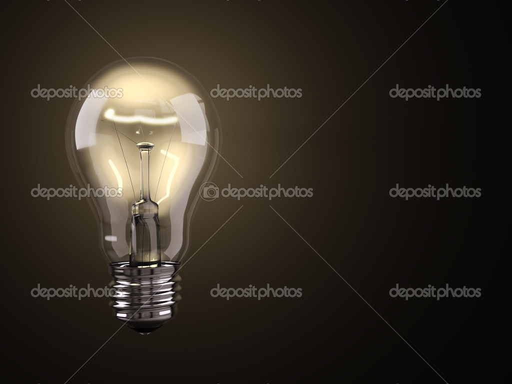 Turned on electric light bulb on black background  Foto Stock #2604635