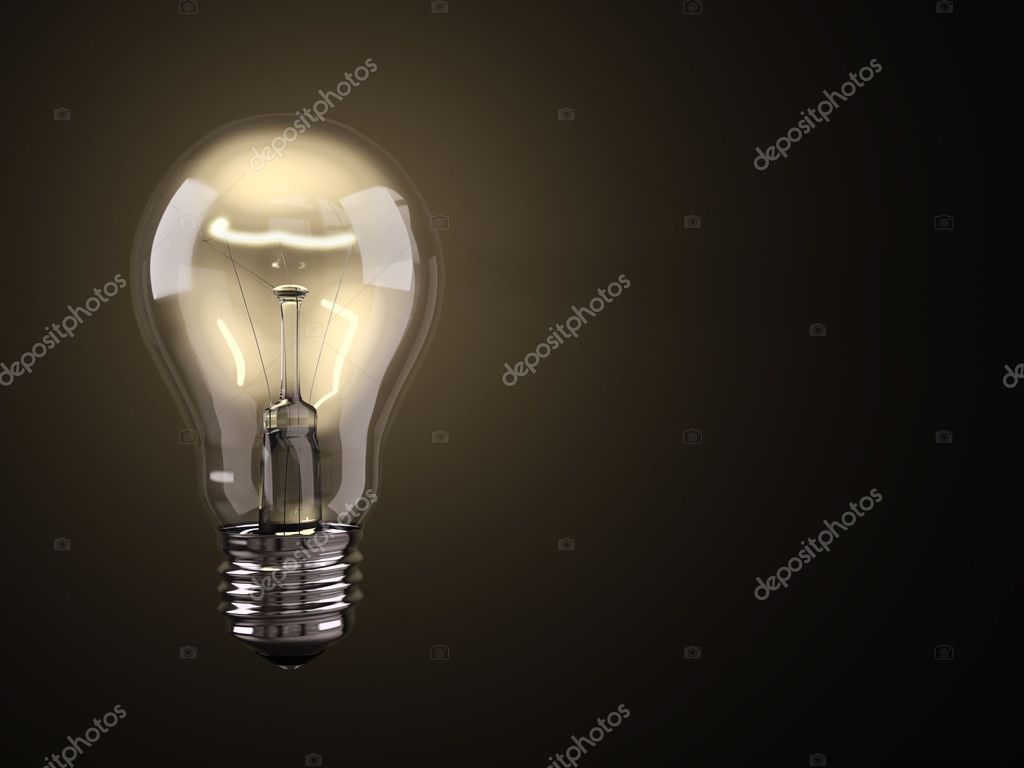 Turned on electric light bulb on black background  Photo #2604635