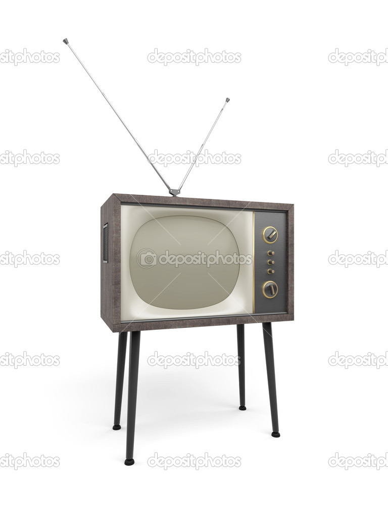 Old TV with antenna set stands on props, isolated on white — Stock Photo #2604940