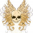 Vector de stock : Vector illustration of skull with wings
