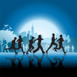 Silhouetted runners in front of city — Stock Vector