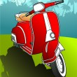Red scooter vector background — Stock Vector