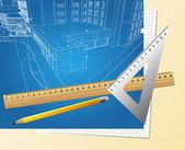Dessin plan décor architectural — Vecteur