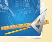 Drawing plan architectural background — Stockvector