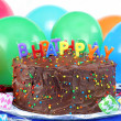 Birthday Cake and Balloons — Stock Photo