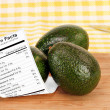 Healthy Avocados and Nutrition Label — Stock Photo