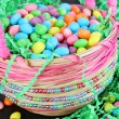 Easter candy in Easter basket — Stock Photo