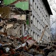 Moscow, destruction of a dwelling house - Stock Photo