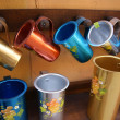Colour aluminium mugs — Stock Photo
