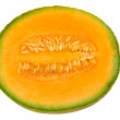 Cantaloup melon half with seeds — Stock Photo