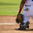 Stock Photo: Baseball catcher behind homeplate