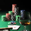 Drink and playing cards - Stockfoto