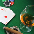 Drink and playing cards - Stock Photo