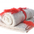Towels and red tape — Stock Photo