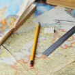 Stock Photo: Map and pensil