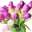 Tulips in glass vase — Stock Photo