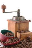 复古咖啡 grinderwith 杯 — 图库照片