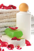Many towels and accessories to bathing — Stock Photo