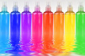 Many colored bottles — Stock Photo