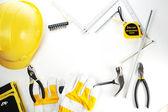 Handschuhe und hammer — Stockfoto